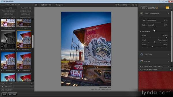 Tone compression settings: Up and Running with HDR Efex Pro 2.0