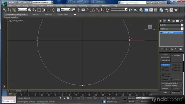 Vertex subobject editing for splines: Getting Started with 3ds Max