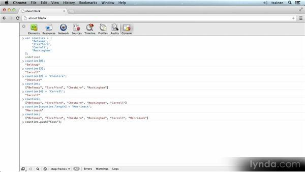 Manipulating arrays: Introducing the JavaScript Language