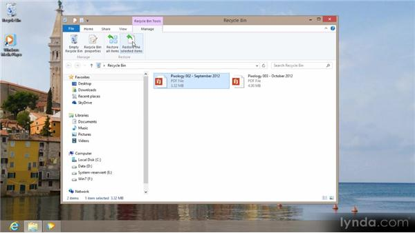 Using the Recycle Bin: Up and Running with Windows 8