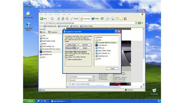 organizing favorites: Learning Internet Explorer 6