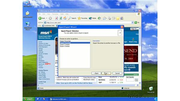 importing/exporting favorites: Learning Internet Explorer 6