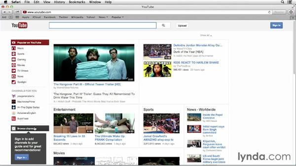 Browsing topics and channels: YouTube Essential Training