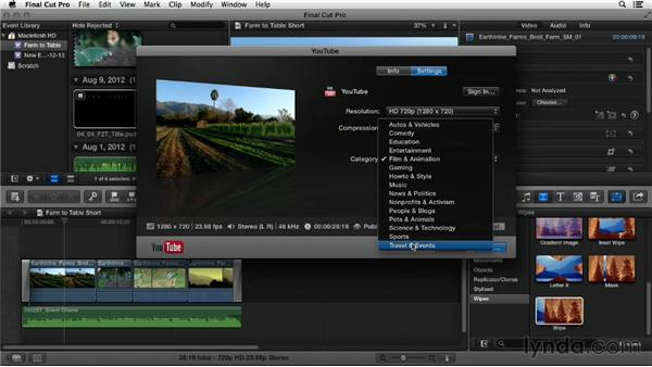 Uploading from Final Cut Pro X: YouTube Essential Training