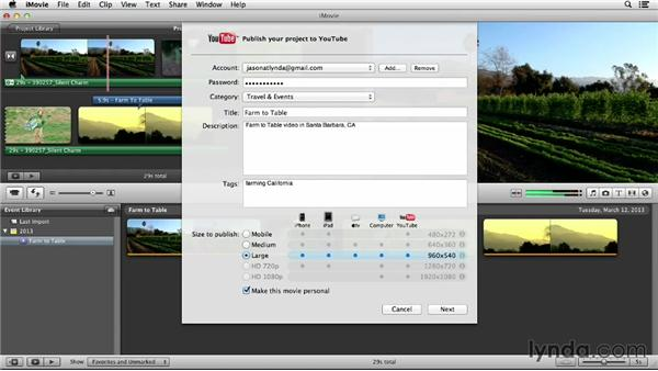Uploading from iMovie: YouTube Essential Training
