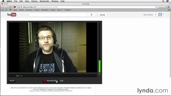 Uploading directly from a webcam: YouTube Essential Training