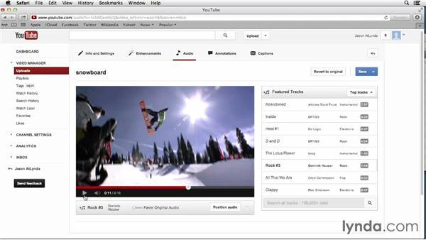 Replacing audio: YouTube Essential Training