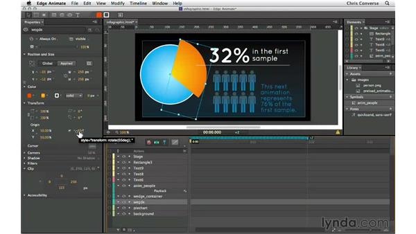 Animating the pie chart wedge: Creating an Animated Infographic with Edge Animate