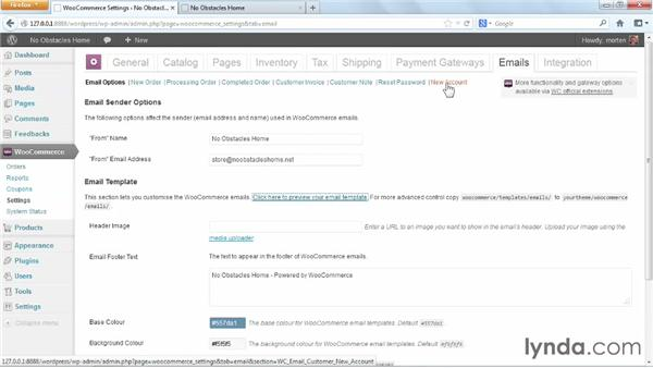 Email settings: WordPress Ecommerce: WooCommerce