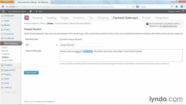 Configuring payment options: WordPress Ecommerce: WooCommerce