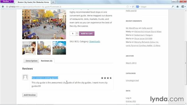 Managing product reviews: WordPress Ecommerce: WooCommerce