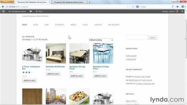 Configuring the store index page: WordPress Ecommerce: WooCommerce