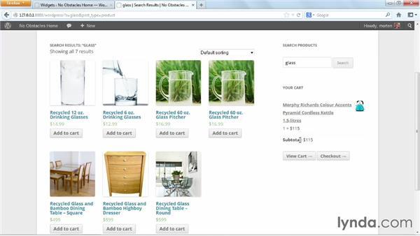 Using the sidebar: WordPress Ecommerce: WooCommerce