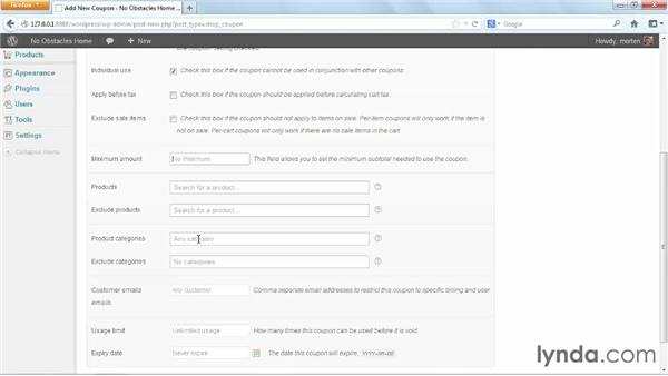 Creating coupons: WordPress Ecommerce: WooCommerce