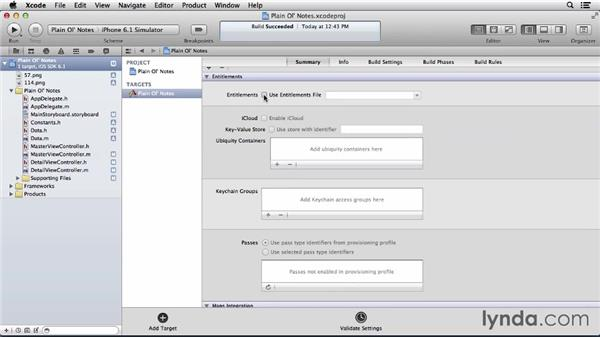 Modifying your project's properties for iCloud connectivity: Developing for the Apple iCloud API with iOS (2013)