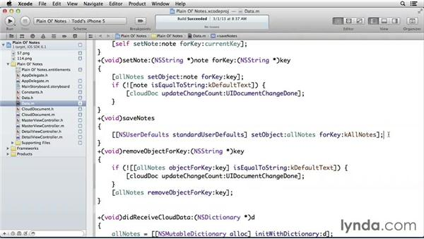 Tracking changes and autosaving documents: Developing for the Apple iCloud API with iOS (2013)