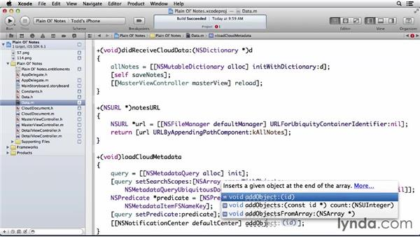 Handling document metadata events: Developing for the Apple iCloud API with iOS (2013)