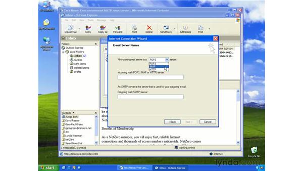 types of e-mail accounts: Learning Internet Explorer 6