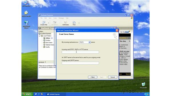 creating an e-mail account: Learning Internet Explorer 6