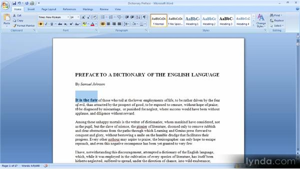 Selecting and formatting text: Up and Running with Word 2007