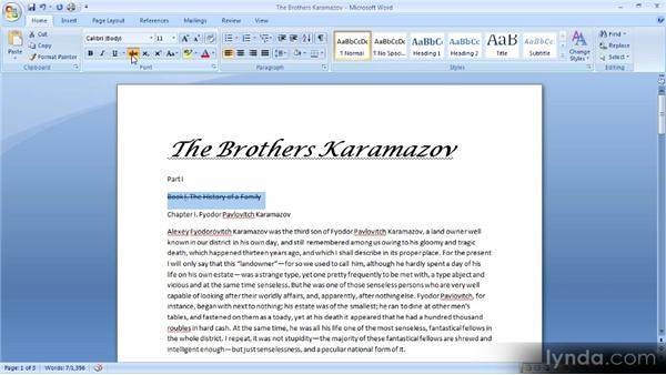 Text formatting options: Up and Running with Word 2007