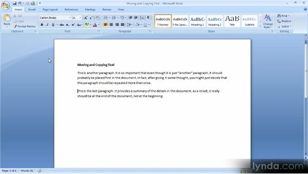 Moving and copying text: Up and Running with Word 2007