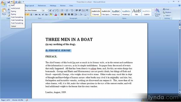 Undoing and redoing: Up and Running with Word 2007