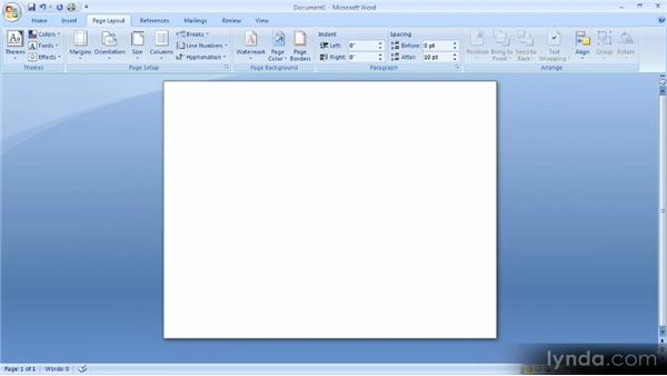Overall document layout: Up and Running with Word 2007