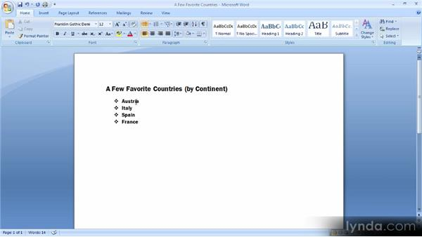 Creating bulleted and numbered lists: Up and Running with Word 2007