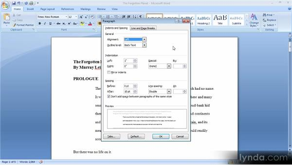 Tabs, indents, and spacing: Up and Running with Word 2007
