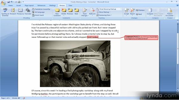 Reviewing and accepting changes: Up and Running with Word 2007