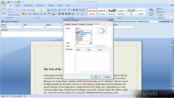 Updating document information: Up and Running with Word 2007