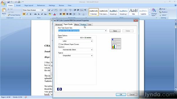Printing a document: Up and Running with Word 2007