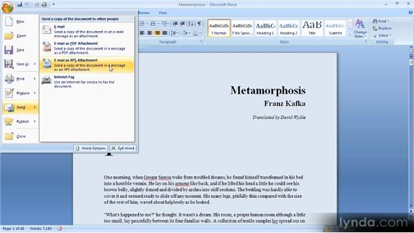 Sharing a document electronically: Up and Running with Word 2007