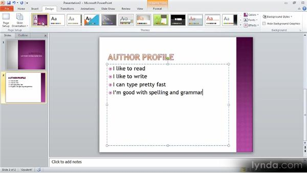 Using themes for speed and consistency: Up and Running with PowerPoint 2010