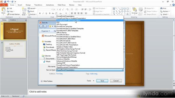 Saving, opening, and closing: Up and Running with PowerPoint 2010