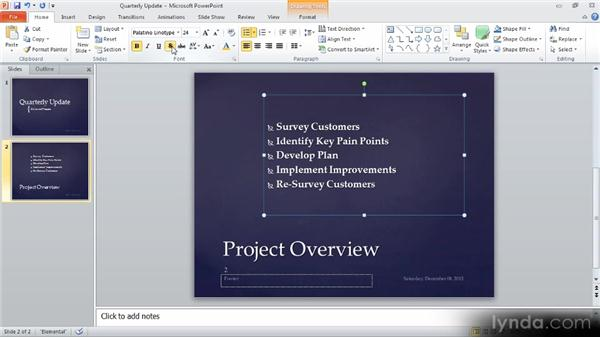 Formatting text: Up and Running with PowerPoint 2010