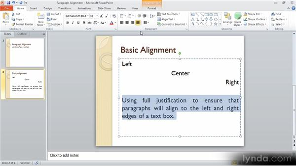 Basic paragraph settings: Up and Running with PowerPoint 2010