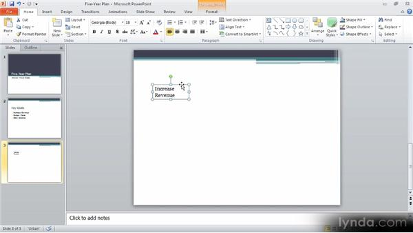 Working with text boxes: Up and Running with PowerPoint 2010