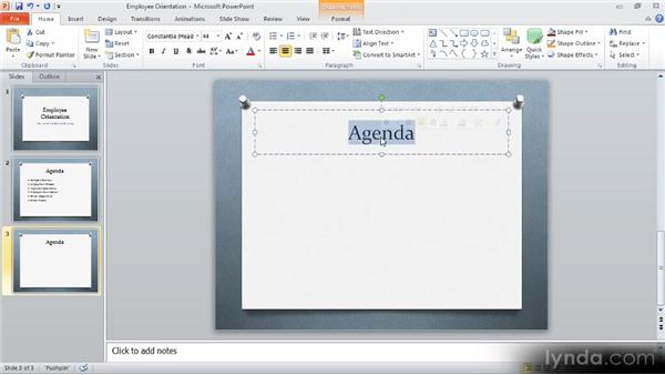 Using Copy and Paste: Up and Running with PowerPoint 2010