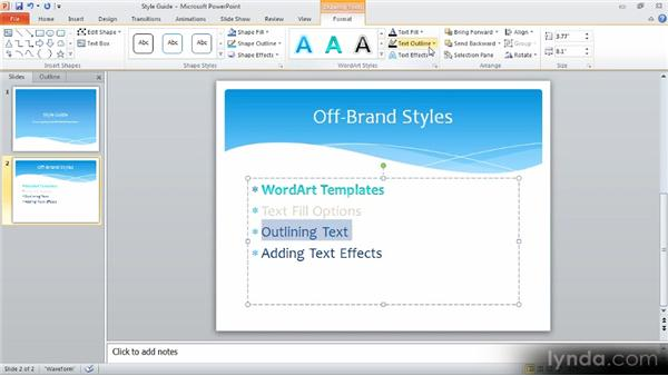 Adding text effects: Up and Running with PowerPoint 2010