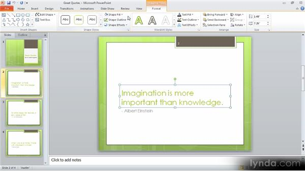 Effects for text boxes: Up and Running with PowerPoint 2010