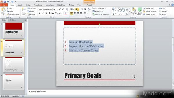 Formatting lists: Up and Running with PowerPoint 2010
