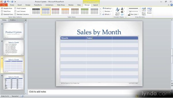 Adding a table: Up and Running with PowerPoint 2010
