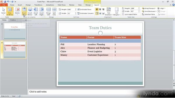 Adjusting table layout: Up and Running with PowerPoint 2010