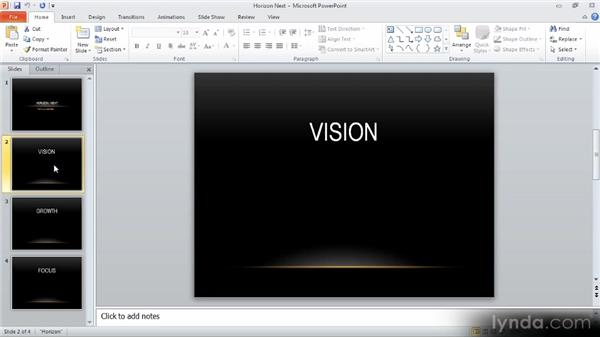 Using speaker notes: Up and Running with PowerPoint 2010