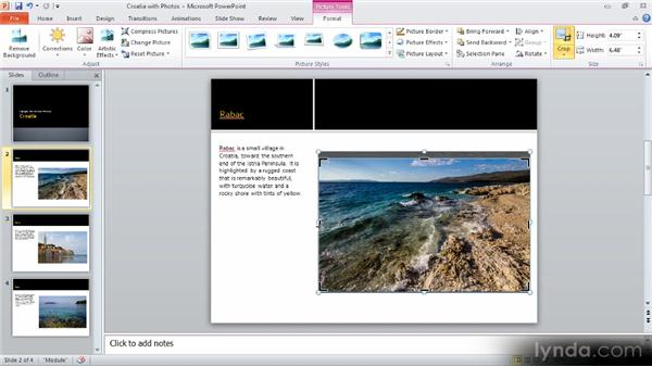 Formatting images: Up and Running with PowerPoint 2010
