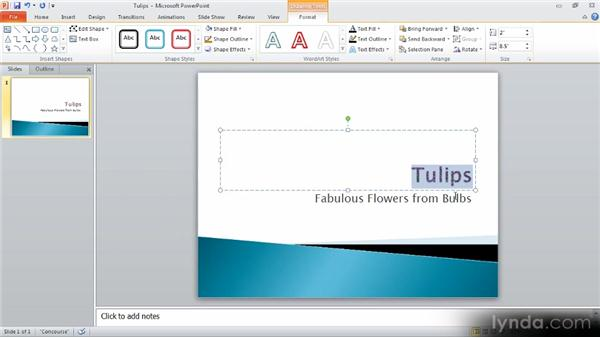 Filling text with an image: Up and Running with PowerPoint 2010
