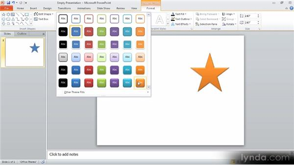 Inserting shapes: Up and Running with PowerPoint 2010