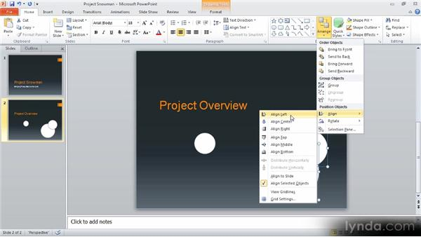 Arranging and aligning objects: Up and Running with PowerPoint 2010